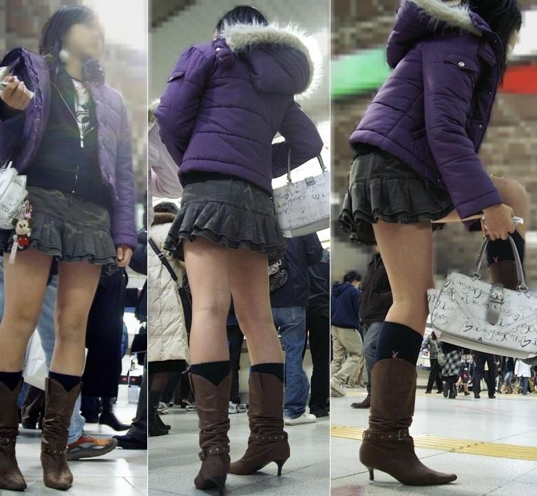 【美脚エロ画像】寒くても生脚の大人はいる!ブーツで絶対領域作った皆さんwww 16