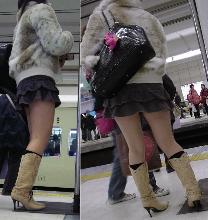 【美脚エロ画像】寒くても生脚の大人はいる!ブーツで絶対領域作った皆さんwww 17