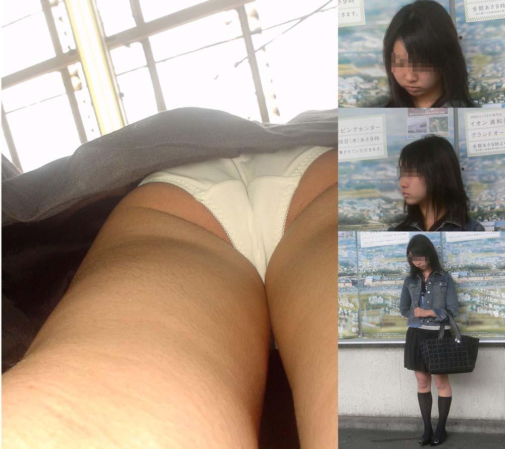 【パンチラエロ画像】大股で立つから…真下より股間の全貌暴く逆さ撮りwww 06