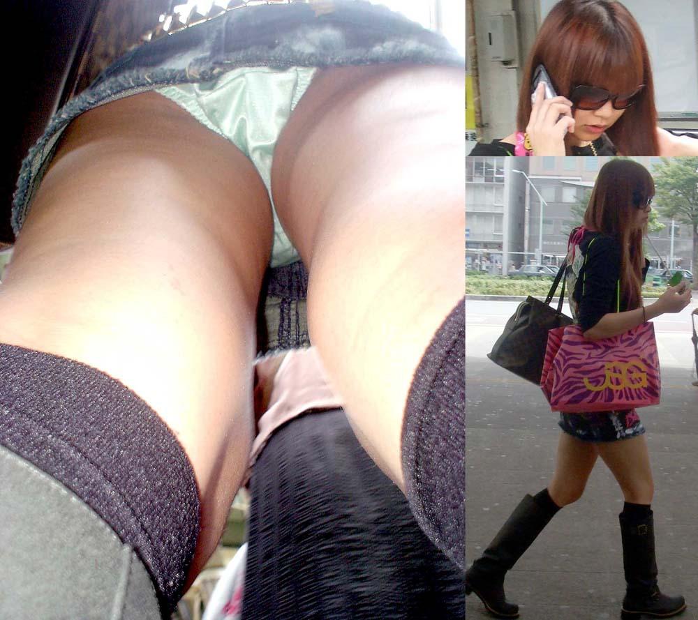 【パンチラエロ画像】大股で立つから…真下より股間の全貌暴く逆さ撮りwww 09