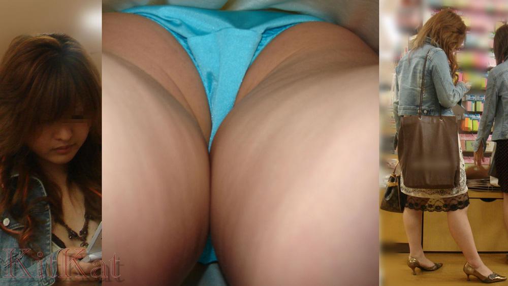 【パンチラエロ画像】大股で立つから…真下より股間の全貌暴く逆さ撮りwww 14