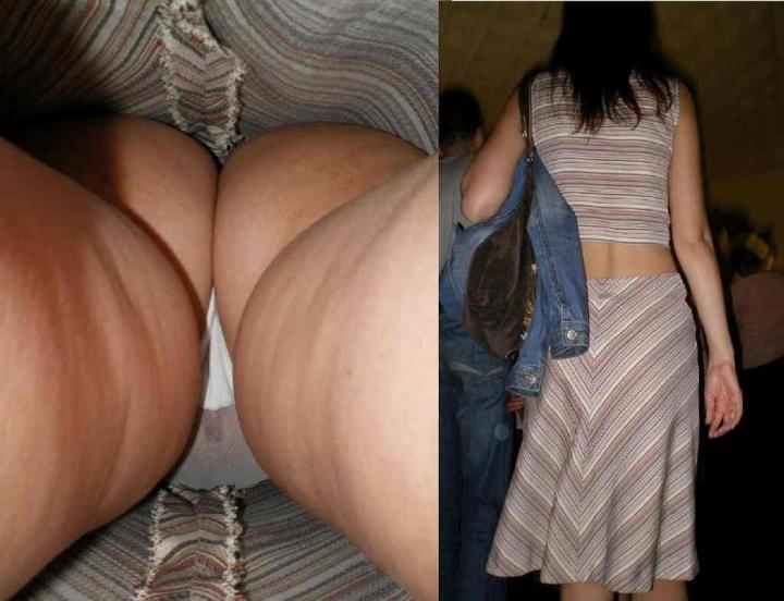 【パンチラエロ画像】大股で立つから…真下より股間の全貌暴く逆さ撮りwww 22