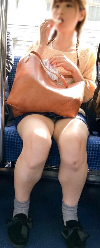 【パンチラエロ画像】眺めたいから座りたいw降りるまで凝視の電車対面チラwww 04