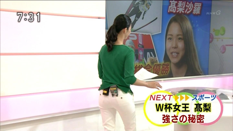 【画像】NHK森花子アナのお尻がピッチピチの白パンツでエロいことにwww
