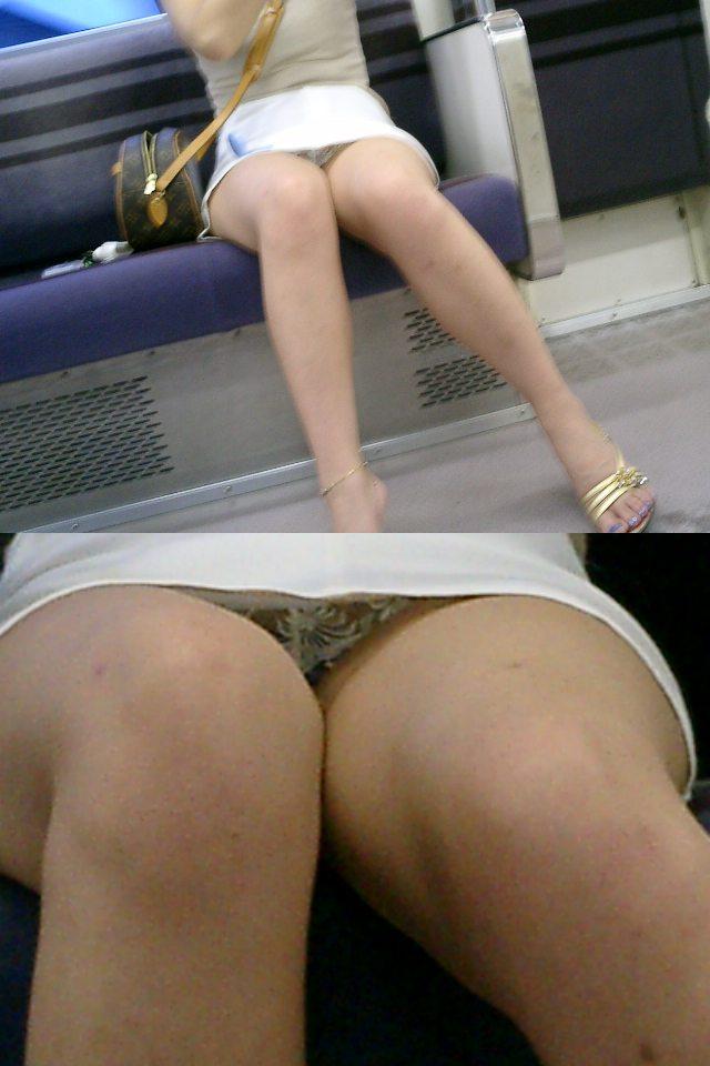 【パンチラエロ画像】通勤時に拝めたら今日はイイ事ありそう…電車内パンチラwww 05