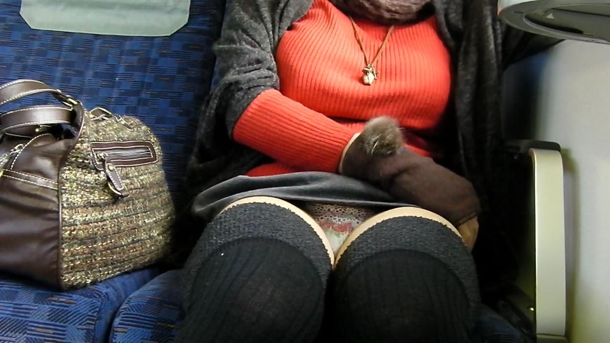 【パンチラエロ画像】通勤時に拝めたら今日はイイ事ありそう…電車内パンチラwww 18
