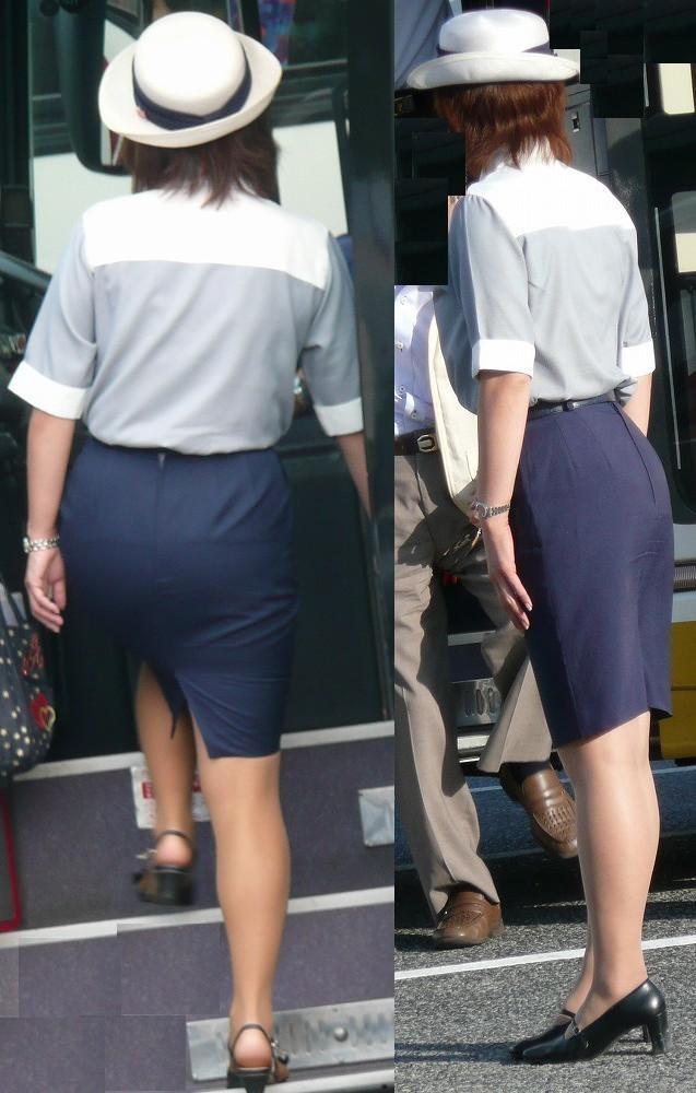 【働く女のエロ画像】GWはバスツアー!バスガイドのタイト尻追跡が目的だけどwww 14