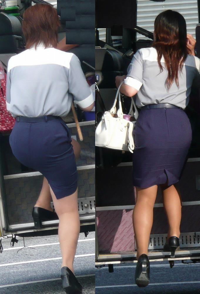 【働く女のエロ画像】GWはバスツアー!バスガイドのタイト尻追跡が目的だけどwww 16
