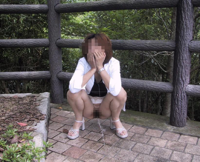 【放尿エロ画像】トイレがないから仕方なく…露出のついでに野ションする淑女たちwww 12