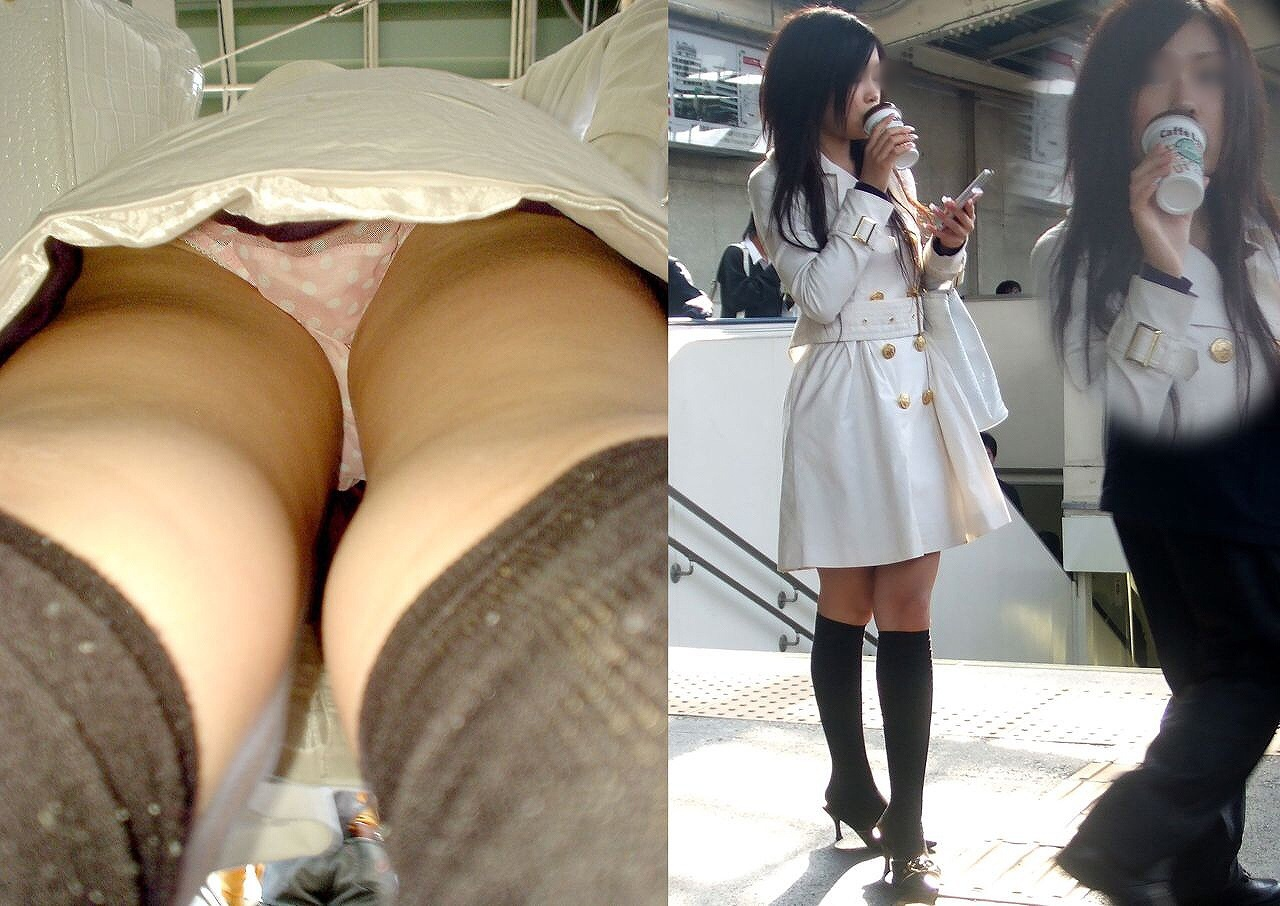 【パンチラエロ画像】履いてるパンツが本当の性格!真実を暴く逆さ撮りwww 14