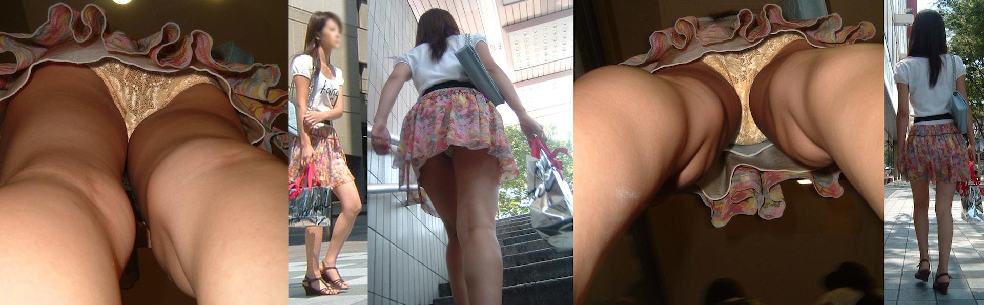 【パンチラエロ画像】履いてるパンツが本当の性格!真実を暴く逆さ撮りwww 15