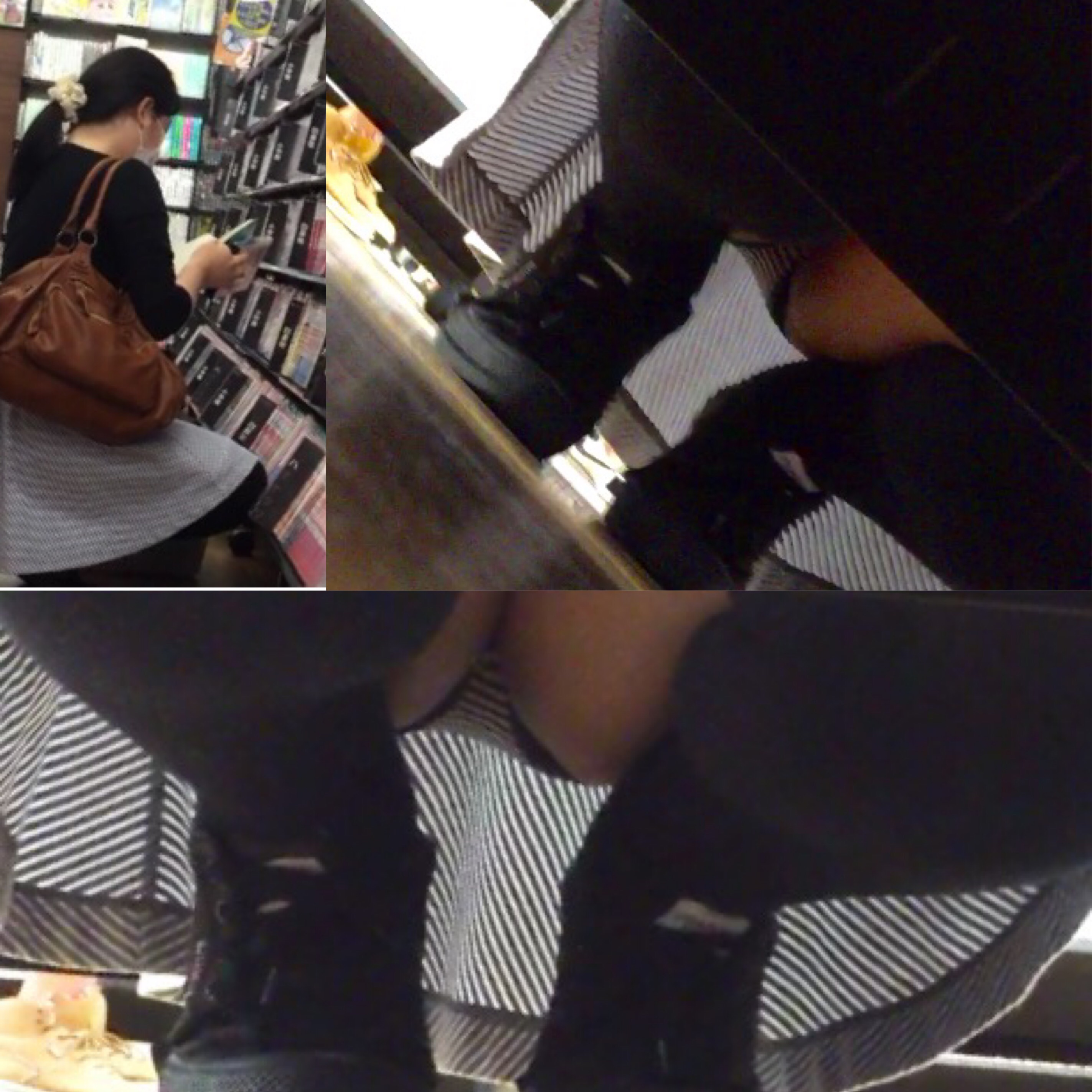 【パンチラエロ画像】棚の下から座るミニスカ女子のパンツを商品そっちのけでガン見www 20