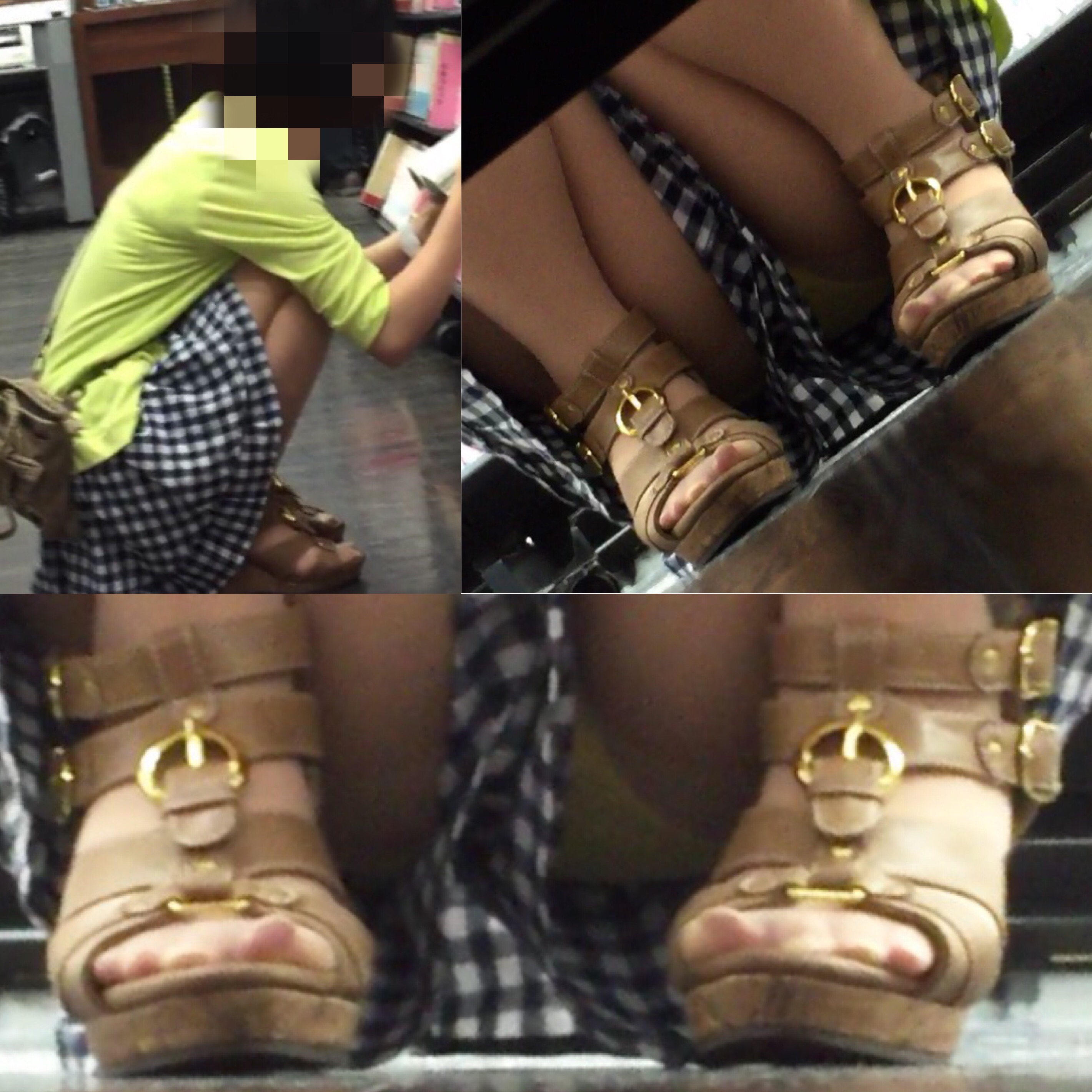 【パンチラエロ画像】棚の下から座るミニスカ女子のパンツを商品そっちのけでガン見www 21