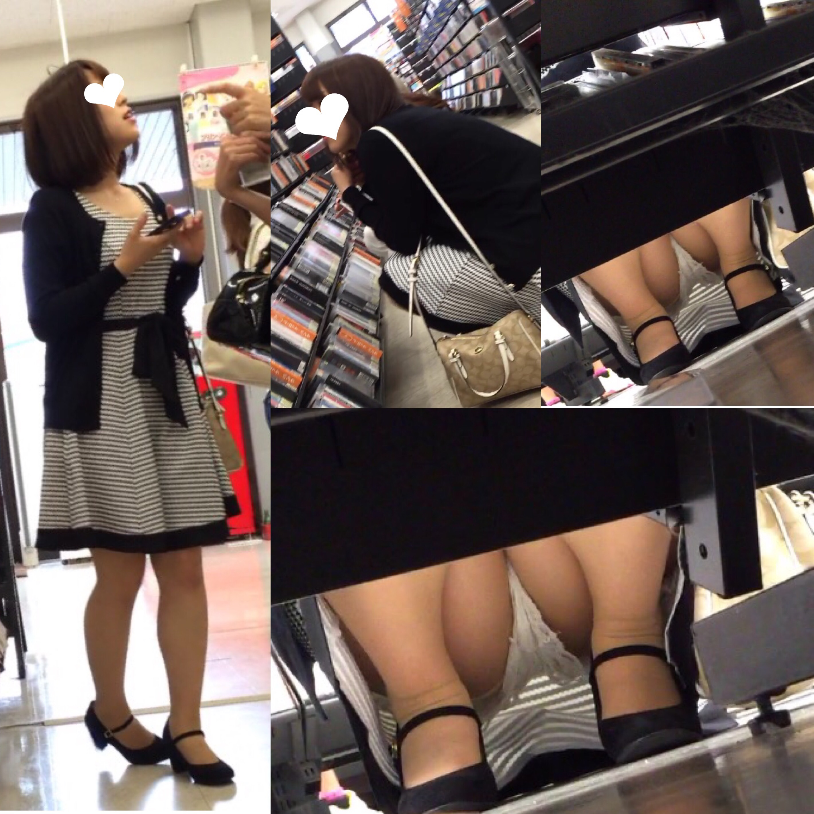 【パンチラエロ画像】棚の下から座るミニスカ女子のパンツを商品そっちのけでガン見www 27