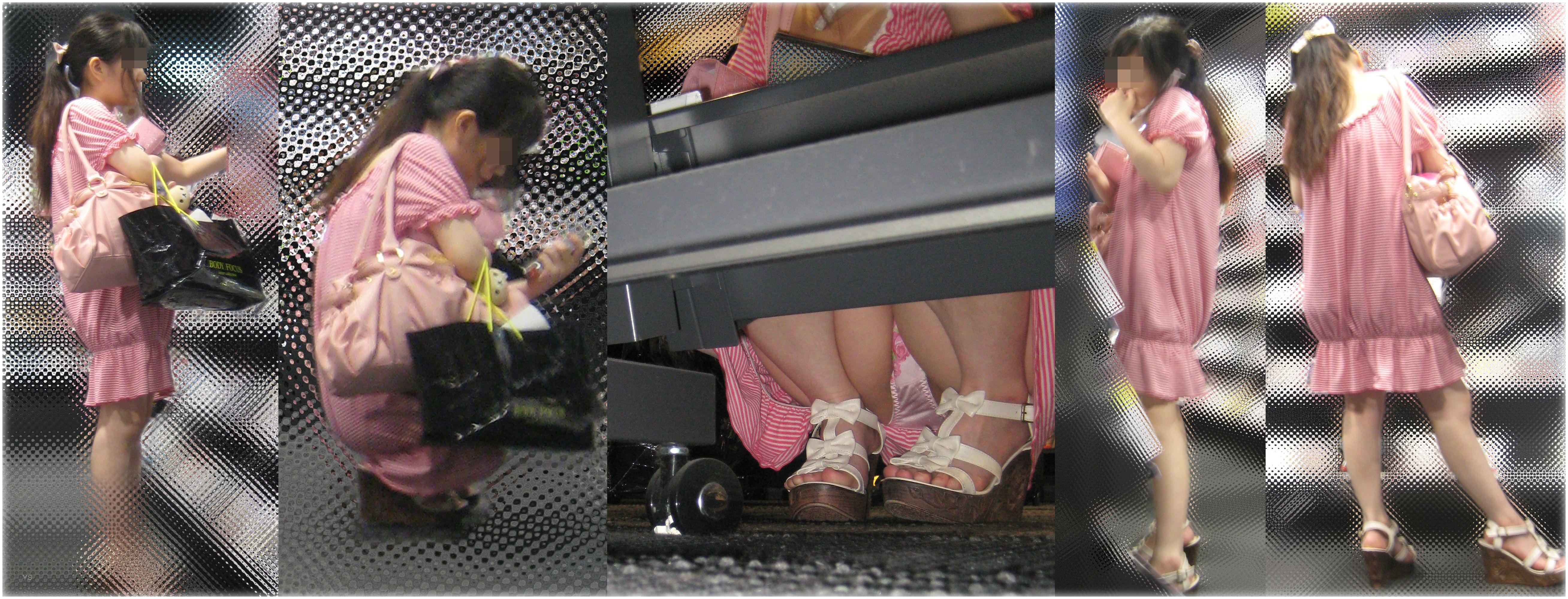 【パンチラエロ画像】棚の下から座るミニスカ女子のパンツを商品そっちのけでガン見www 30