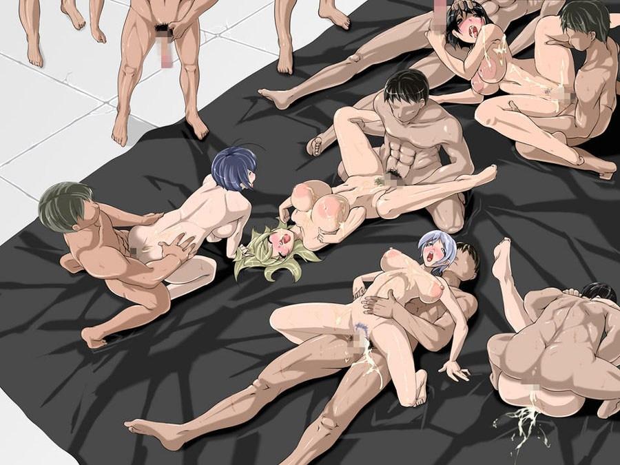 【二次エロ画像】皆でヤれば怖くないw並んで合体中な美少女たちの乱交プレイwww 13