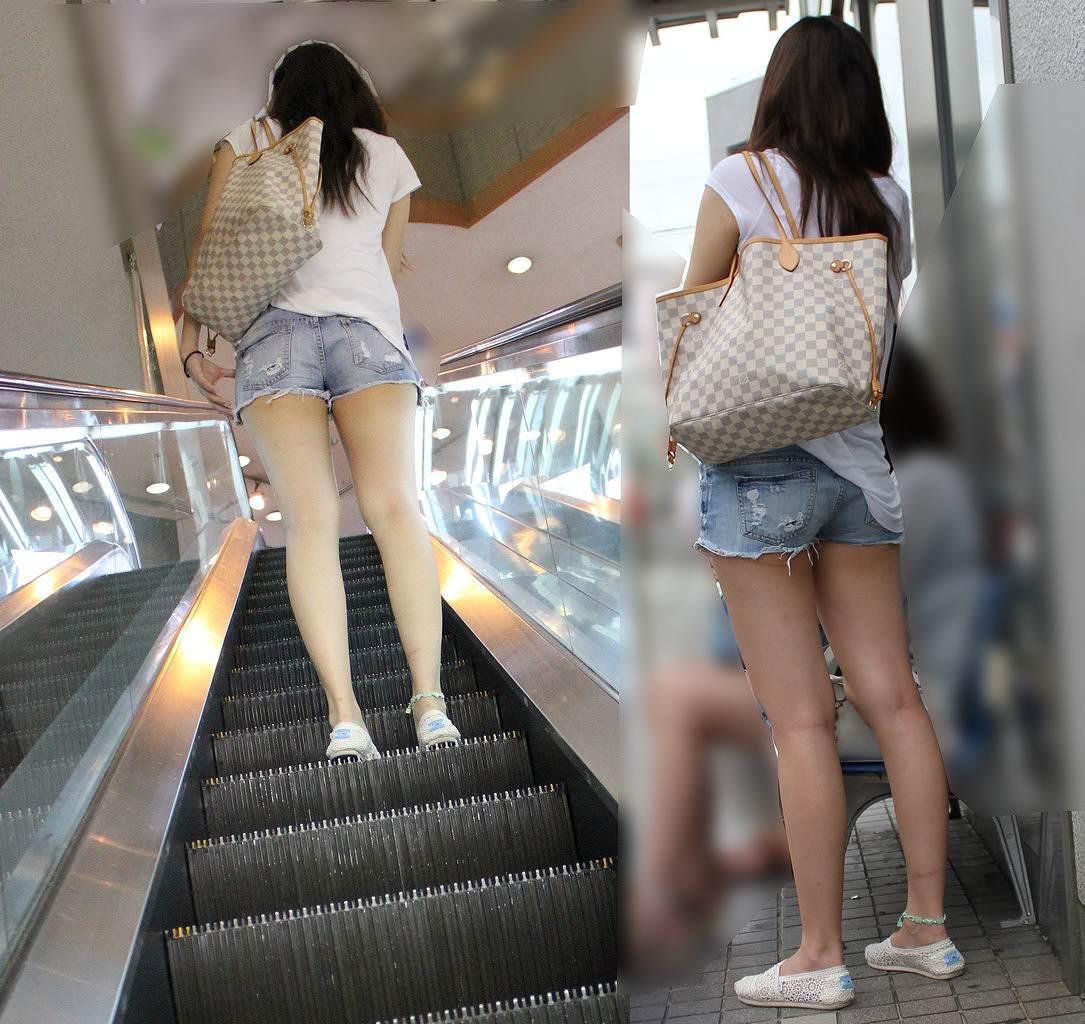 【美脚エロ画像】ある意味半分は裸w街角ショーパン女子のそそる美脚www 14