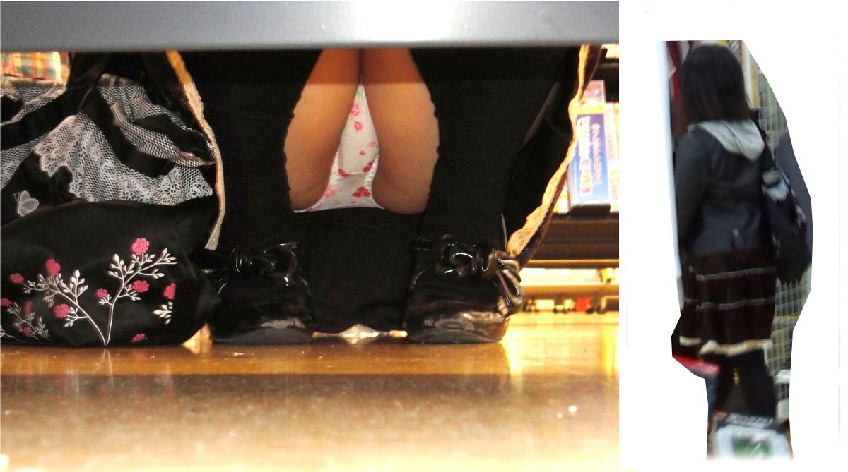 【パンチラエロ画像】お店の棚下から狙い撃つぜぇ!向こう側からミニスカチラwww 04