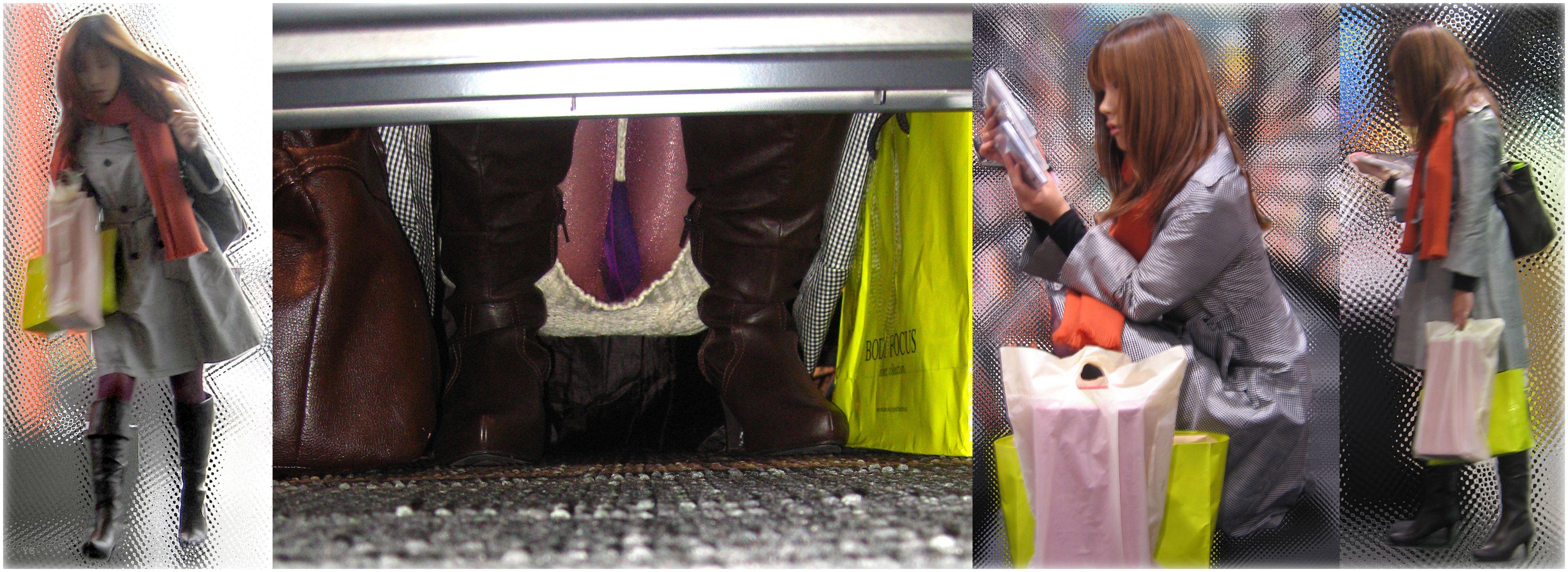 【パンチラエロ画像】お店の棚下から狙い撃つぜぇ!向こう側からミニスカチラwww 06