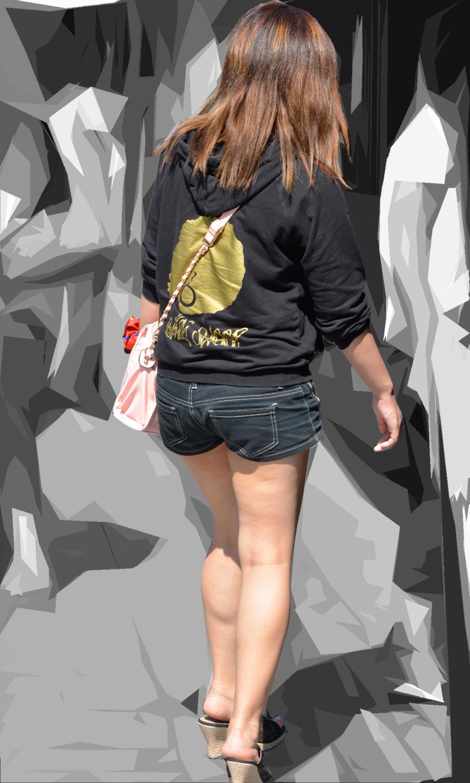 【ショーパンエロ画像】眩過ぎる生ハミ尻…ショーパンがとても似合う街の美脚www 27