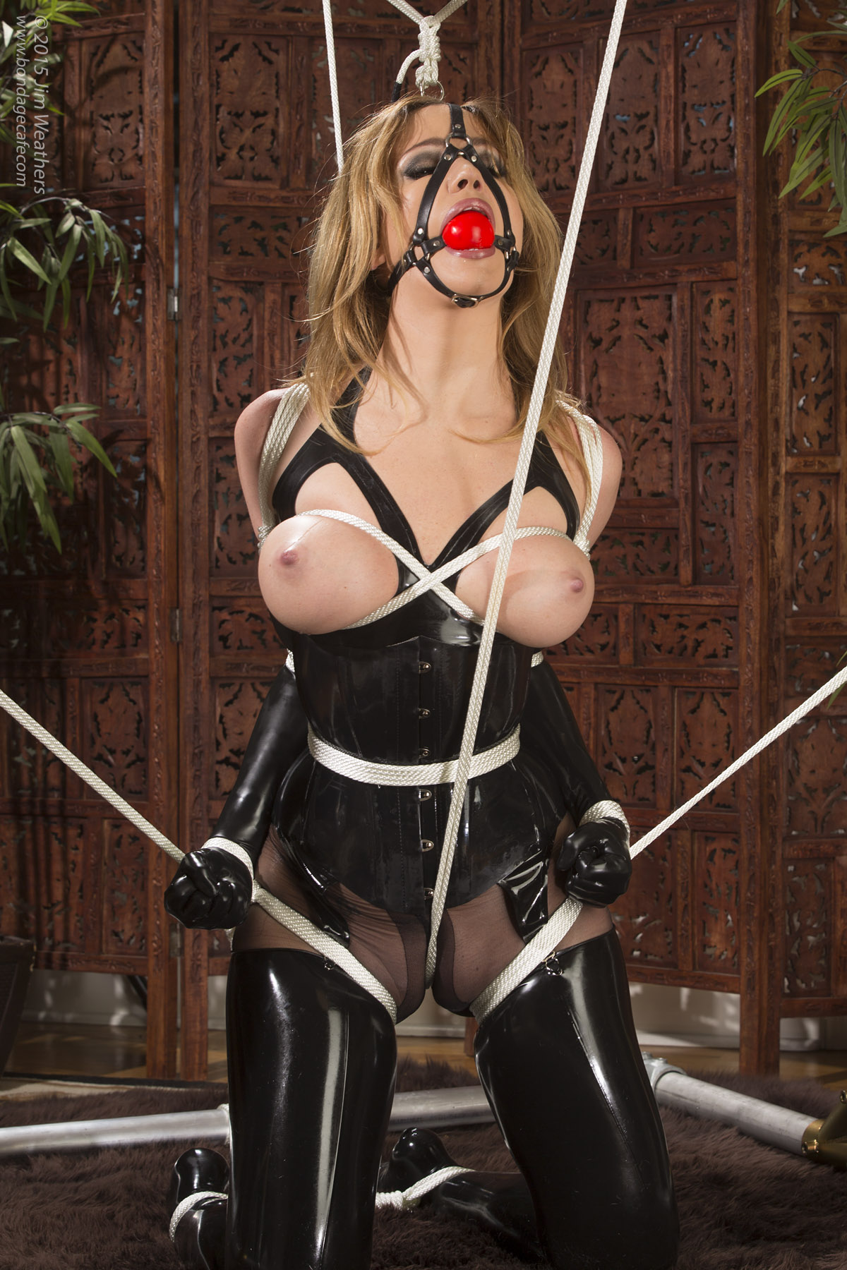 【SMエロ画像】巨乳に施したい縄ブラジャーというかただの緊縛放置www 07