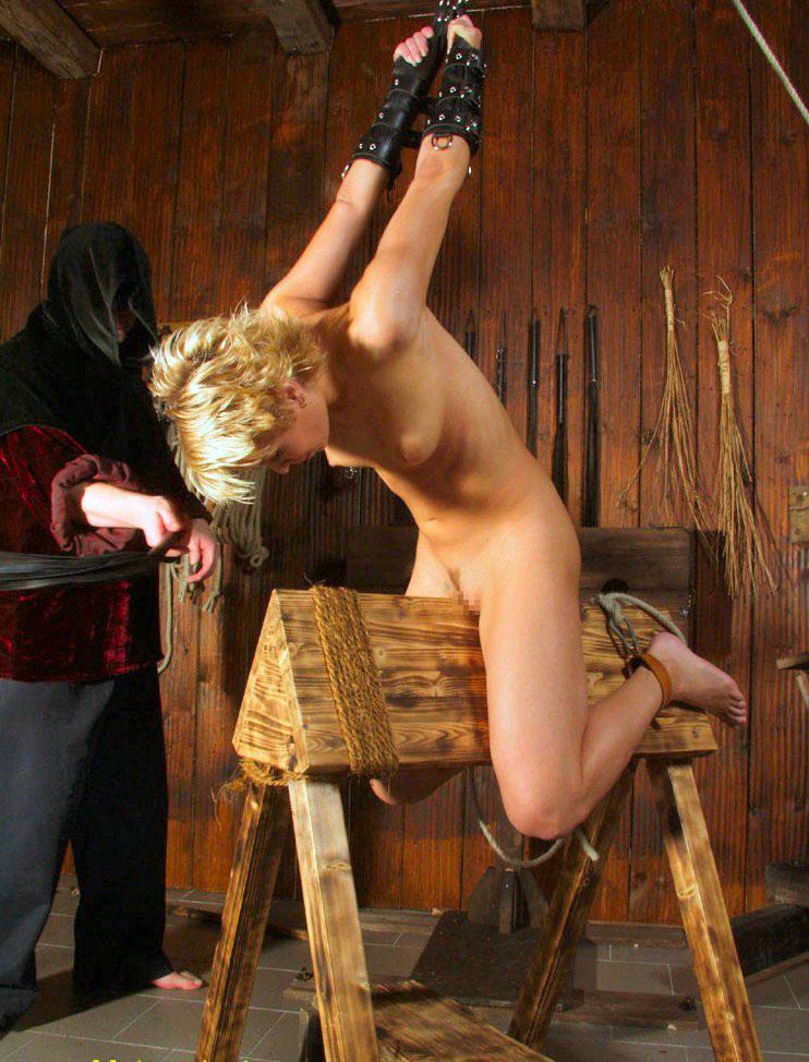 【SMエロ画像】鋭利な背中に乗って絶叫するM女たちの三角木馬拷問www 06