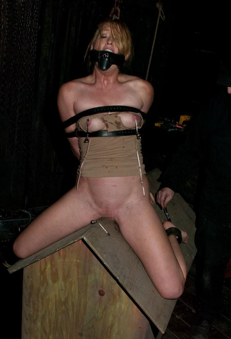 【SMエロ画像】鋭利な背中に乗って絶叫するM女たちの三角木馬拷問www 13