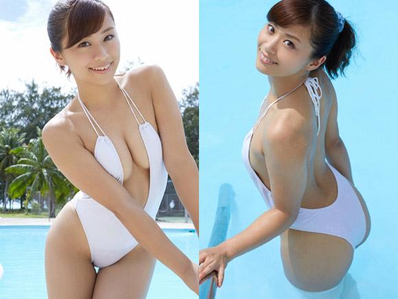 安枝瞳(27) 巨尻お姉さんの白いハイレグ水着。画像×13
