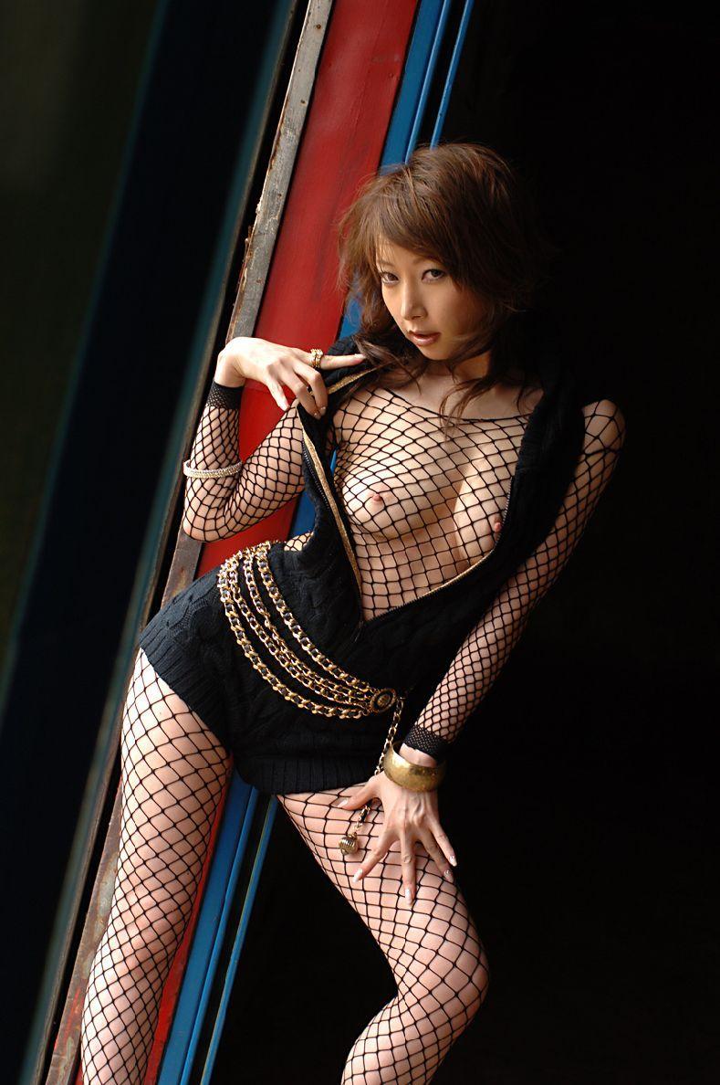 【下着エロ画像】着ればプレイメイト気分w隠せてない全身網タイツ女体www 09