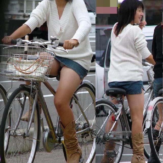 【パンチラエロ画像】見える地点は事前に把握w自転車ミニスカパンチラwww 07
